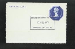 Marcophilie - Lettre Carte Elisabeth II 3 Pence 12 February 1973 - Shetland - Non Circulée / Unusued - Entiers Postaux