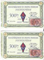 2 BILLETS LOTERIE RASSEMBLEMENT DU PEUPLE FRANÇAIS RPF SOUSCRIPTION CACHET TIMBRE FISCAL CROIX DE LORRAINE - Lottery Tickets