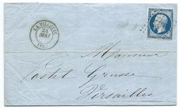 N° 14 BLEU NAPOLEON SUR LETTRE / LA VILLETTE POUR VERSAILLES / 24 MAI 1857 - Storia Postale