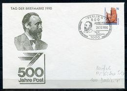 """Germany,Berlin 1990 Privatganzsache 500 Jahre Post Mi.Nr. PU 150 Mit SST""""Berlin 12-500 Jahre Post,Tag Der Brief.""""1 Beleg - Post"""