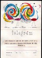 POLAND 1964 TELEGRAM SPECIAL OCCASION STYLISED PEACOCKS BIRDS USED TÉLÉGRAMME TELEGRAMM TELEGRAMA TELEGRAMMA - Paons