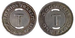 01186 GETTONE TOKEN JETON TRASPORTI TRASPORTATION TRAMWAYS NEW JERSEY, TRENTON, 1952 - USA
