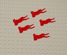 Légo 5x Drapeau Rouge 4 X 1 à Vague à Gauche Ref 4495a - Lego Technic