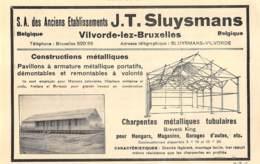 1927 - VILVORDE-lez-BRUXELLES - Constructions Métalliques - J.T. SLUYSMANS - Dim. 1/2 A4 - Advertising