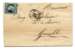 NAPOLEON III - NUMERO 10 SUR LETTRE DE STRASBOURG POUR GRENOBLE 9 NOVEMBRE 1853 - Postmark Collection (Covers)