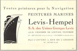 VILVORDE - Chaussée De Louvain - Peintures Marines - LEVIS-HEMPEL - Dim. +/- 1/2 A4 - Advertising