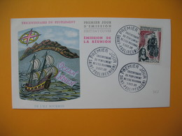 Enveloppe FDC  Réunion CFA 1965 N° 365 Tricentenaire Du Peuplement De L'Ile Bourbon Saint Paul - Reunion Island (1852-1975)