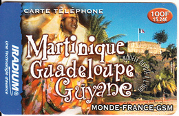 FRANCE - Martinique-Guadeloupe-Guyane, Iradium Prepaid Card 100F/15.24 Euro(matt Surface), Exp.date 31/12/02, Used - Prepaid-Telefonkarten: Andere