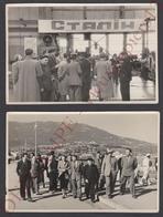9 Photos Originales URSS C1950 Communisme Délégations étrangères Gare Fluviale Moscou Yalta &c 18x13 Guerre Froide Photo - Lieux