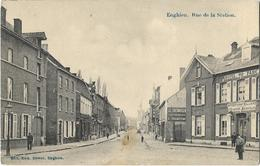 Enghien - Rue De La Station 1914/18 - Feldpost ( Animation + Publicités ) - Enghien - Edingen