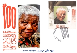 DZ Algerien 100 Jahre FDC Nelson Mandela Gemeinschaftsausgabe PAN African Postal Union Famous Madiba - Gemeinschaftsausgaben