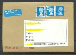 GREAT BRITAIN 2019 Air Mail Cover Queen Elizabeth Stamp X 3 Cancelled By Hand To Estonia - 1952-.... (Elizabeth II)