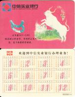 CHINA - Zodiac/Taurus, Calendar 2001, Citic Industrial Bank - Zodiac