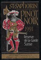 Etiquette De Vin // St-Saphorin, Pinot Noir, Réserve De La Garde Suisse - Antiche Uniformi