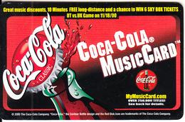 USA - Coca Cola MusicCard, Clarity Telecom Promotion Prepaid Card, Exp.date 31/12/00, Used - Publicité