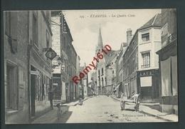 Etampes - Les Quatre-Coins - Belle Carte Animée, Commerces, Coiffeur, Café, Attelage,... - Etampes