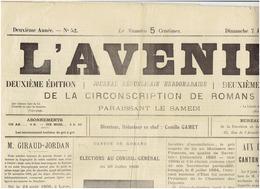 7 Jullet 1895 N° 52 : L AVENIR ( Romans ) - Journaux - Quotidiens