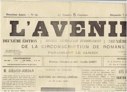 7 Jullet 1895 N° 52 : L AVENIR ( Romans ) - 1850 - 1899
