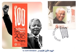 DZ Algeria FDC Centenary Nelson Mandela Joint Issue PAN African Postal Union Famous Madiba - Emissions Communes