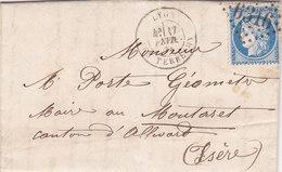 763-  CERES 60  -  LYON  A  ALLEVARD - Postmark Collection (Covers)