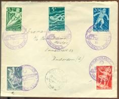 """Nederland 1948 Envelop Met Complete Serie Kinderzegels NVPH 508-512 Speciaal Stempel """"Autopostkantoor"""" - Lettres & Documents"""