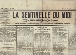 25 Mai 1879 : LA SENTINELLE DU MIDI - Toulon - 1850 - 1899