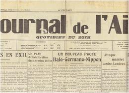 29 SEPTEMBRE 1940 / LE JOURNAL DE L AIN / LA GUERRE 39 45  : Vichy - Journaux - Quotidiens