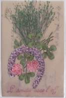 Carte Matiere En Celluloid - Decoupi - Ajouti - Fleurs -myosotis - TREFLES  - FER A CHEVAL - Carte Bon Etat - Cartes Postales