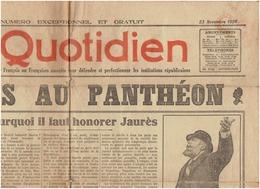 Le QUOTIDIEN Du 23 Novembre 1924 -2 Scans - JAURES AU PANTHEON - Journaux - Quotidiens