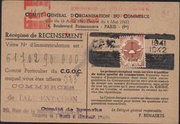 Guerre 39 Carte Comité Général D'organisation Du Commerce Vignette 1941 42 Recensement Machine à Affranchir - Marcofilia (sobres)