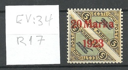ESTLAND ESTONIA 1923 Michel 44 Bb (ziegelrot/brick Red) + ERROR ABART EV: 34 Pos R17 * - Estland