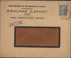 YT 237 Semeuse Camée Bleu 40c Perforé AL Adolphe Lafont Lyon CAD Arrivée Neuilly Plaisance 23 5 32 Ancoper AL119 - Perforadas