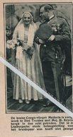 ST. TRUIDEN..1932.. DE CONGO-VLIEGER MEDAETS IN DE ECHT GETREDEN MET MEJ. M. KEYENBERGH - Old Paper