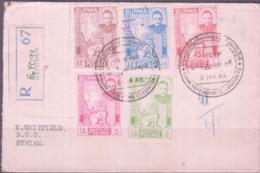 BURMA - 1948 - REGISTERED COVER   RANGOON TO SYRIAN WITH BACKSTAMP - Myanmar (Burma 1948-...)