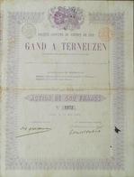 Société Anonyme Du Chemin De Fer Gand à Terneuzen 1865 ( Aandeel Obligation Action ) - Chemin De Fer & Tramway