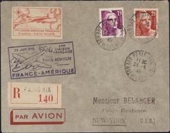 Avion Vignette Première Liaison Aérienne Française Paris New York Cachet Illustré 24 Juin 46 France Amérique YT 727 729 - Postmark Collection (Covers)