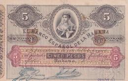 Cuba  El Banco Espanol De La Habana 5 Pesos COPY, Pick 19, Meleg H01 - Cuba