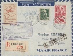 Avion Vignette Première Liaison Aérienne Française France Amérique Du Sud 23 Juin 1946 Cachet Illustré YT Ae 17 + 719 - Postmark Collection (Covers)