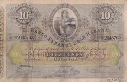 Cuba  El Banco Espanol De La Habana 10 Pesos COPY, Pick 20, Meleg H02 - Cuba
