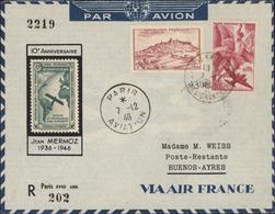 Avion Vignette Aéropostale 10e Anniversaire Jean Mermoz 1936 1946 YT 759 + Ae 17 CAD Paris Aviation 7 12 46 Recommandé - Storia Postale