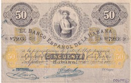 Cuba  El Banco Espanol De La Habana 50 Pesos COPY, Pick 22, Meleg H04 - Cuba