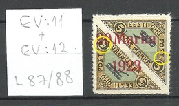 ESTLAND ESTONIA 1923 Michel 44 Ba + ERROR ABART EV: 11 & EV: 12 Pos L87/88 * - Estland