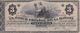 Cuba  El Banco Espanol De La Habana 3 Pesos COPY, Pick 28e, Meleg S02 - Cuba