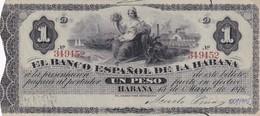 Cuba  El Banco Espanol De La Habana 1 Peso COPY, Pick 27c, Meleg Q04 - Cuba