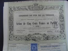 CIE CHEMINS DE FER DELA VENDEE - ACTION DE 500 FRS - PARIS 1862 - BELLE ILLUSTRATION - Hist. Wertpapiere - Nonvaleurs