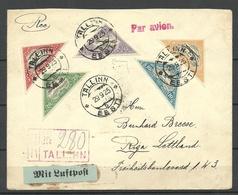 Estland Estonia 1925 Flugpostbrief Michel 48 - 52 B Etc Nach Riga Lettland - Estland