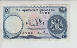 AB310. The Royal Bank Of Scotland Plc £5 Banknote 5th January 1983 #B/28 774641 FREE UK P+P - [ 3] Scotland