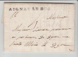 Cte D'Or: AIGNAY LE DUC Linéaire 57 X 3 / LAC Filigrane De 1780 > Dijon, Ind 16 SUP - 1701-1800: Précurseurs XVIII