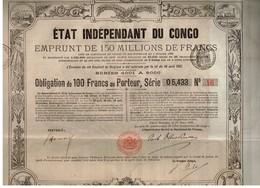 Titre Ancien - Etat Indépendant Du Congo - Emprunt De 150000000 De Francs - Obligation De 100 Francs - Titre De 1888 - - Africa