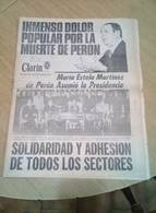 Juan Domingo Peron's Death July 2nd 1974 Clarin Newspaper - Historical Documents